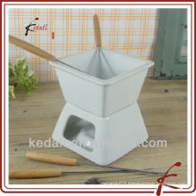 square ceramic chocolate fondue set