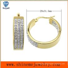 Shineme Joyería de la alta calidad El mejor precio Acero inoxidable que platea el pendiente del oro con CZ (ERS6903)