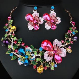 Conjunto de colar de cristal de flores de rosa rosa