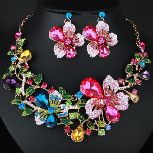 Conjunto de collar de cristal de flores rosas rosadas
