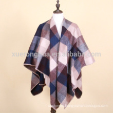 plaid pattern lambs wool and polyester cape for winter
