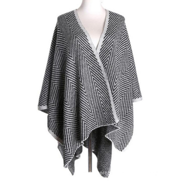 Womens Cashmere Feel Knitted Jacquard Cape Stole Poncho Shawl (SP623)