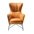 Mid Century Modern Yellow Leather High Back Armchair Retro Leisure Accent Chair with Metal Legs