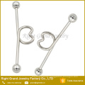 Customized Surgical Steel Silver Black Gold Rainbow Blue Titanium Plated Heart Industrial Barbell