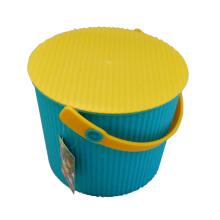 Balde de armazenamento de plástico amarelo azul superior com alça (B05-6669)