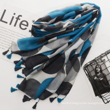 Hot selling women travel scarf multicolor dots printed pashmina scarf cotton tassel scarf