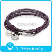 Mode clap magnétique montre bracelet en cuir véritable bracelet en cuir en acier inoxydable bracelet blanc perle violet bracelet