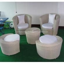 Extérieur en osier Bistro canapé fauteuil avec repose-pieds