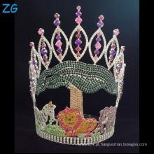 Colorido Rhinestone Home Decorações Coroas de Metal, Custom Made Tiara