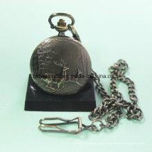 Горячая Распродажа сплава Кварцевые карманные часы с оленями