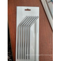 Hot selling Christmas gift 6 drinking straw+1 brush blister card packing food grade 304 Stainless steel drinking