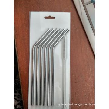 304 Stainless steel drinking straw 6 bend straw+1 brush