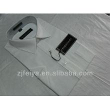 Nueva moda de color blanco 100% algodón hombres vestido de negocios camisas de mangas cortas FYST06-L