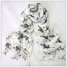 Ladies White with Black Skull Print Viscose Scarf