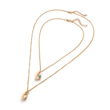 New Fashion Geometric Turquoise Diamond Shell Conch Double Necklace