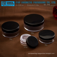 HJ-PR Series 3g 5g 10g 20g 30g single layer opaque cap clear jar all plastic flat round loose powder sifter jar