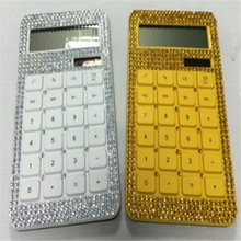 10 Digits Dual Power Diamonds Crystal Decorated Calculator