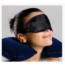 Hot Treble Flocking almohada de aire almohada + máscara de ojo almohadas de viaje con tapones para los oídos