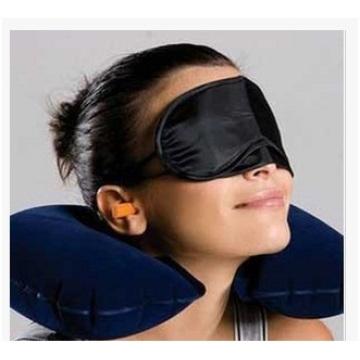 Hot Treble Flocking Air Pillow Pillow + Máscara de Olho Travesseiros de viagem com tampões de ouvido