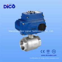 Aço Inoxidável 2PC Mounting Pad Válvula de esfera com atuador elétrico