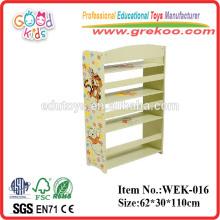 2014 nova prateleira de livros de madeira para crianças, popular prateleira de livros de madeira para pré-escola, prateleira de livros de venda quente para pré-escola