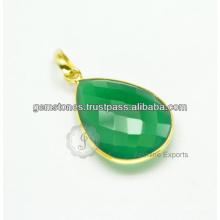 Designer Green Onyx Gemstone pingente de prata artesanal para atacado