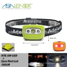 Cree 5W LED 100% hell -50% Bright-2 rote LED- 2 rote LED + CREE 5W LED Blitz LED Fahrrad-Hauptlicht