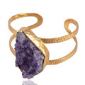 Natural Amethyst Drusy and Gold Plated Cuff Bracelet