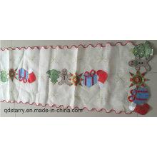 Ruban de table de coureur de polyester de Noël de broderie de Noël