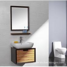 Lanbor Hanging Single Sink Veneer Wood Modern Bathroom Vanity Cabinet with Mirror (NT013)