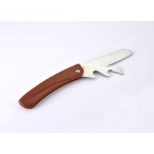 Couteau pliant multifonction d'acier inoxydable de poignée en plastique de revêtement en bois, couteau de cuisine