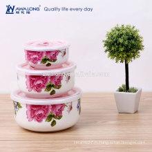 Главная держат напечатанную чашку свежей керамической Eco Fine Fresh, чашу свежих фруктов