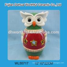 Ornamentos de cerámica personalizados del buho con la luz llevada / tealight