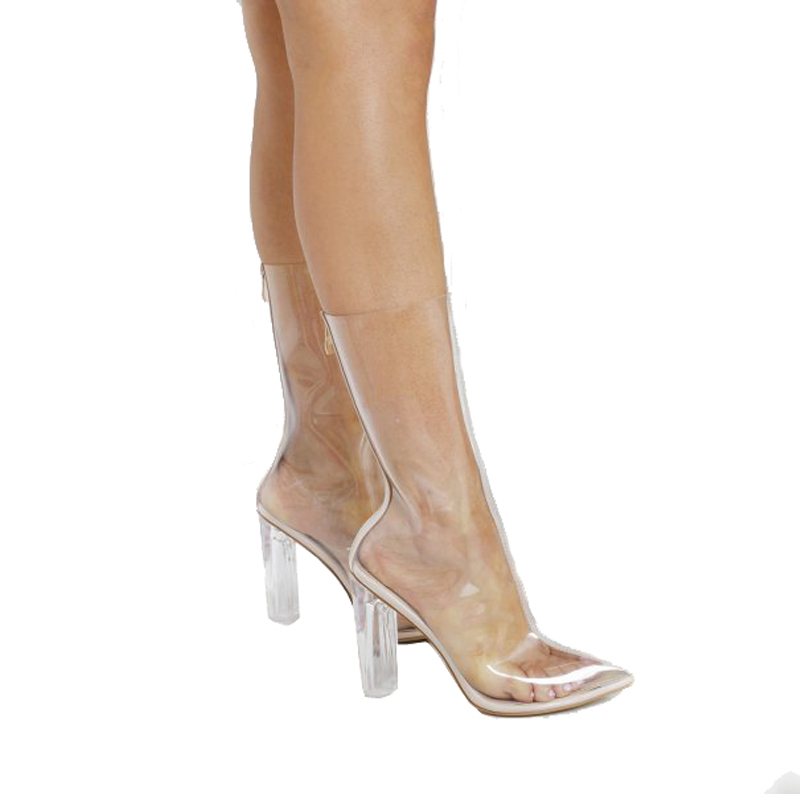 PVC Transparent summer cool Heel Bootie Sandals