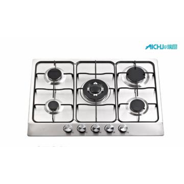 Cuisinière à gaz en acier inoxydable à 5 brûleurs