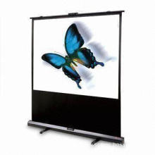 Portable Pull-Up Projection Screen with Spring Bracket and Single Button Locking Mechanism