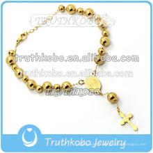 Bracelet chapelet fait à la main en acier inoxydable plaqué or charme pendentif croix religieux articles religieux le saint esprit