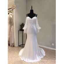 Vestidos de casamento de vestido de noite de sereia de cetim de manga longa
