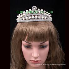 Perlen-Kristall-Tiara-kundenspezifische Rhinestone-Krone
