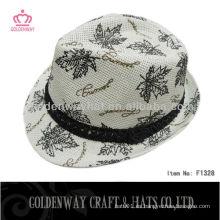 Barato de las niñas de patrón floral Fedora sombrero