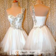 Новое Прибытие Пром платья 2016 производителями Принцесса платье бисером органза Белый коктейль платье