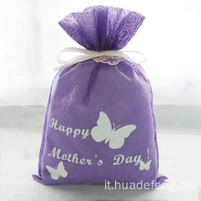 Sacchetto regalo per la festa della mamma Purple Rose Embossing Butterfly