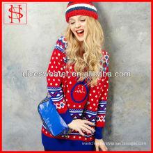 Sweet Autumn/winter Christmas jumper fashion jacquard rabbit heavy colorful sweater wool
