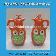 Hecho a mano búho divertido diseño vinagre de cerámica y botella de aceite, aceite de cerámica y vinagre conjunto