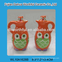 Handmade funny owl design ceramic vinegar and oil bottle,ceramic oil and vinegar set