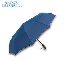 Качество китайских продуктов Промотирования Sombrillas Эпонж ткани с проверить границы дизайн три складной зонт авто открыть и закрыть