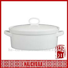 Cacerola ovalada de cerámica, cacerola de la cacerola segura del horno