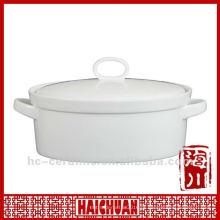 Caçarola oval cerâmica, prato de caçarola seguro do forno