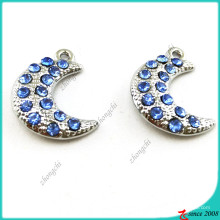 Prata azul lua encantos pingente jóias (MPE)