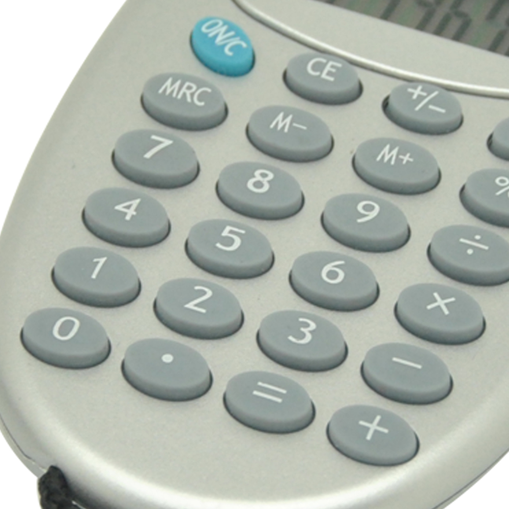 8 Digits Oval Pocket Calculator with Lanyard